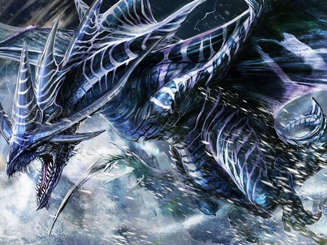 吹雪の中を進む龍
